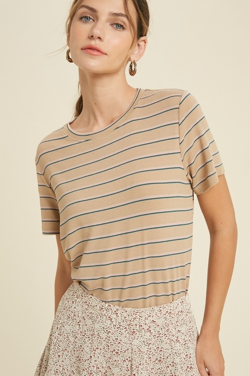 Easy Weekend Striped Tee Taupe