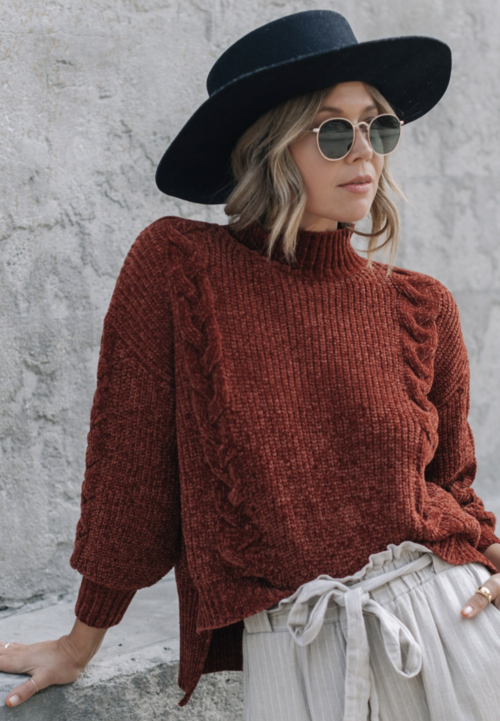 Autumn Rust Chenille Cable Sweater