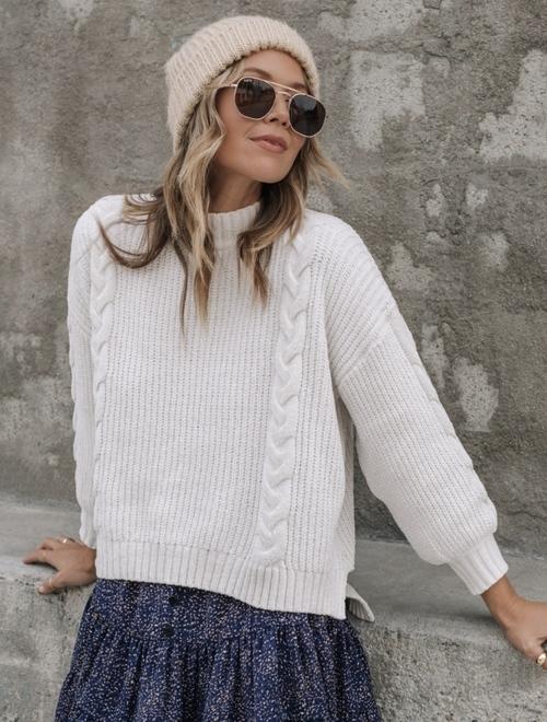 Autumn Vanilla Chenille Cable Sweater