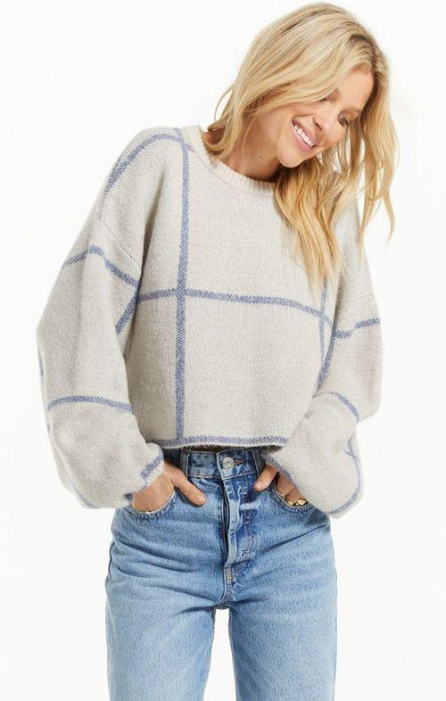 Solange Plaid Sweater Pebble