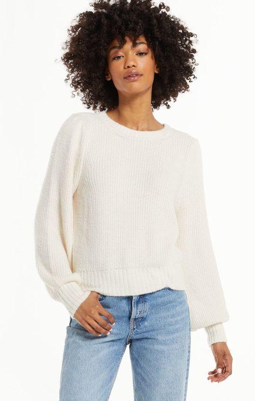 Bailey Puff Sleeve Sweater Pebble