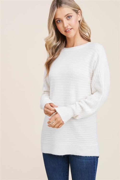 Horizontal Ribbed Dolman Sleeve Sweater Ivory