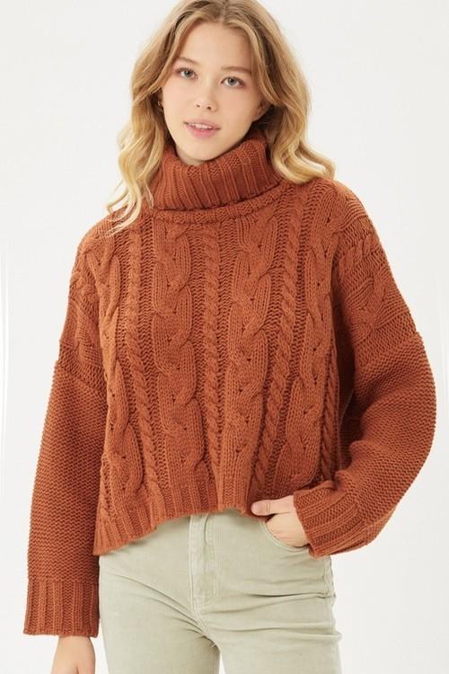 Laina Cable Knit Turtleneck Sweater Terra Cotta