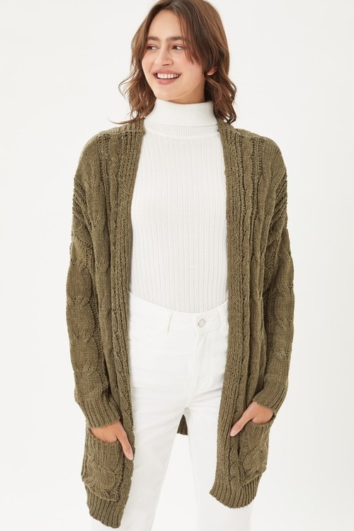 Phoebe Cable Knit Cardigan Olive Oil