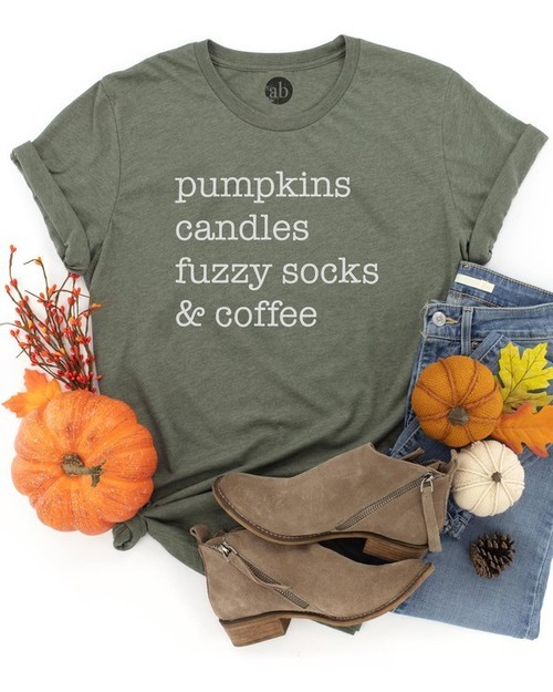 All The Fall Things Graphic Tee Heather Green