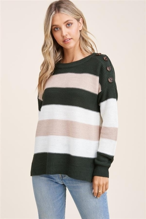 Button Detailed Shoulder Sweater Forest/Ivory