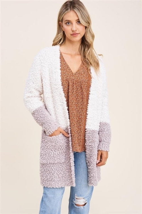 Open Front Color Block Cardigan Ivory/Taupe