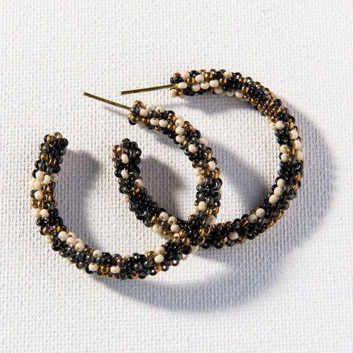 Black Confetti Small Hoop Earrings