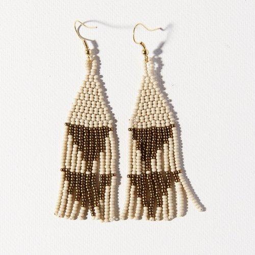 Gold W/ Ivory Triangle Earrings