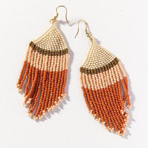 Ivory Gold Pink Rust Stripe Fringe Earrings