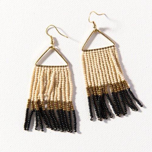 Black Gold Ivory Color Block on Fringe Earrings