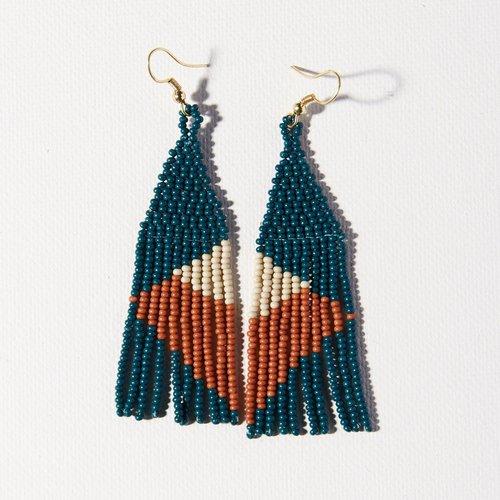 Peacock Rust Ivory Geometric Angle Earrings