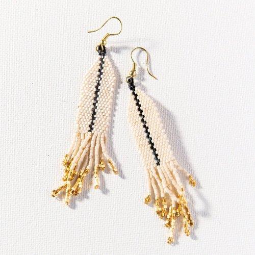 Ivory W/ Black Luxe Single Stripe W/ Fringe Earrings