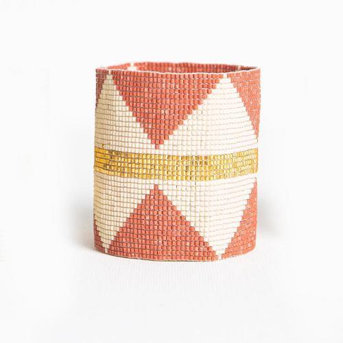 Terra Cotta W/ Ivory Diamonds & Gold Stripe Beaded Bracelet