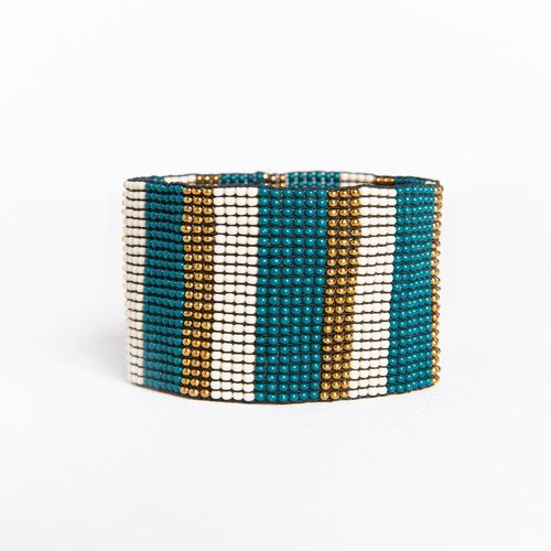 Peacock Ivory W/ Gold Stripe Stretch Bracelet