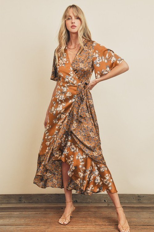 Floral Twin Ruffled Wrap Dress Ochre