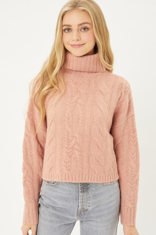 Cable Knit Textured Sweater Mauve