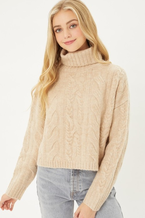 Cable Knit Textured Sweater Khaki
