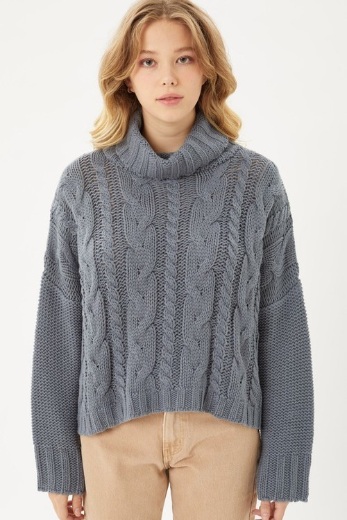 Cable Knit Turtleneck Sweater Steel Blue