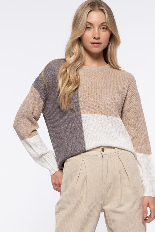 Color Block Neutrals Sweater Taupe