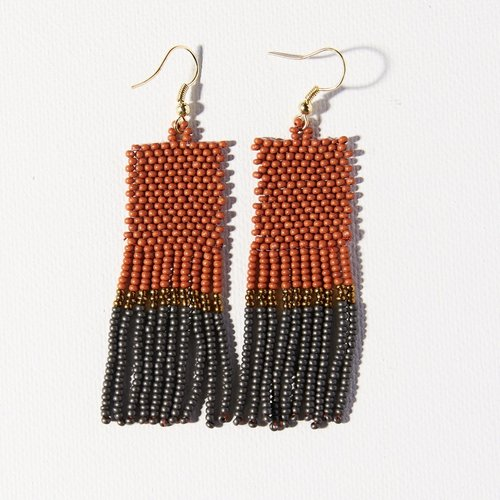 Rust Gold Grey Color Block Earrings