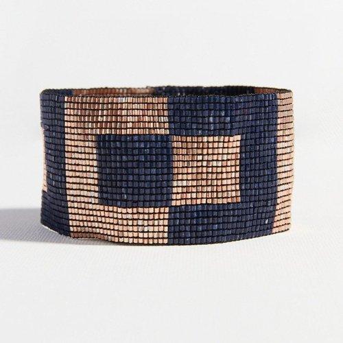Rose Gold Navy Squares Stretch Beaded Bracelet