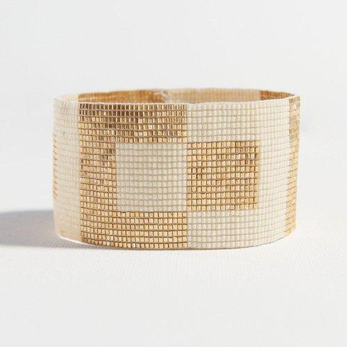 Gold Ivory Squares Stretch Beaded Bracelet