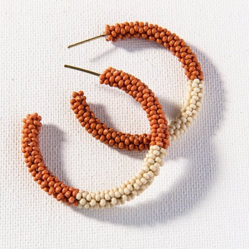 Rust Ivory Color Block Small Hoops