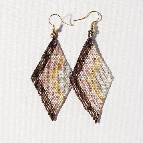 Mixed Metallic Angles Diamond Earrings