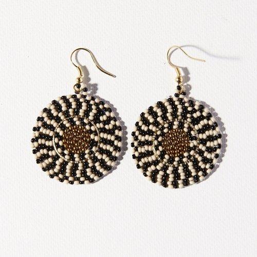Black White Gold Single Circle Earrings