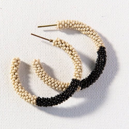 Ivory Black Color Block Small Hoops