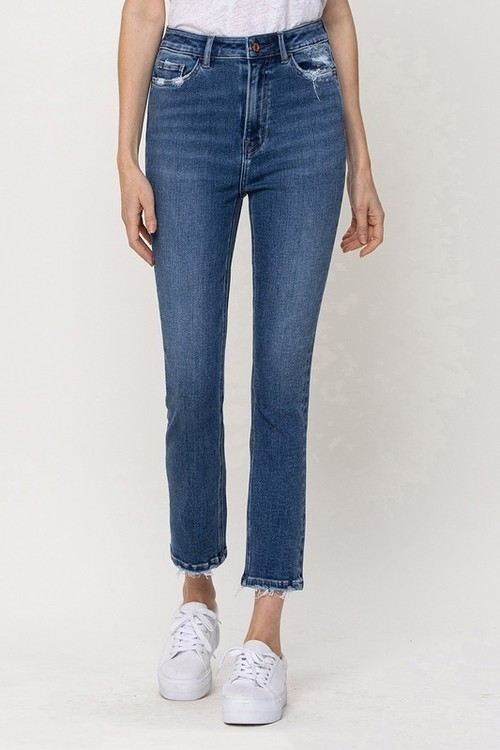 Stretch High Rise Slim Straight Ankle