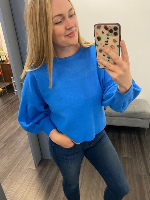 Balloon Sleeved Sweater Blue