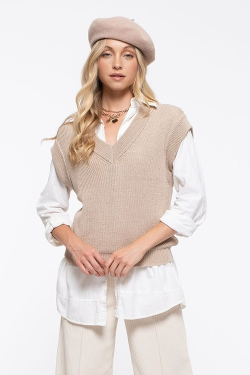 Over Everything Sweater Vest Taupe