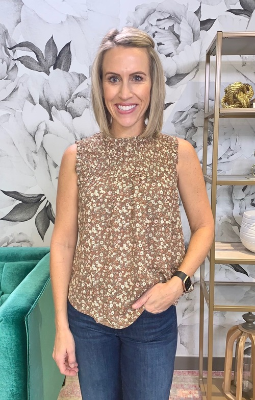 Floral Sleeveless Rouched Blouse Brown