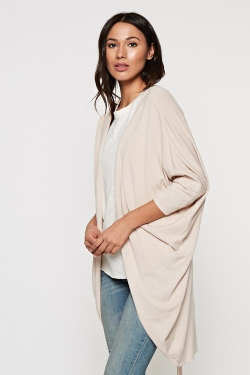 Riley Rouched Back Cardigan Heather Almond