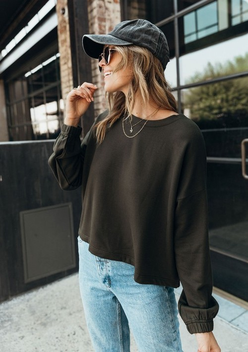 Forest Cozy Cropped L/S Crew