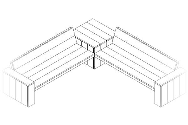 Bouwtekening loungebank downloaden bouwtekeningenpakket for Bouwtekening hoekbank