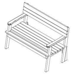 houten bank bouwtekening