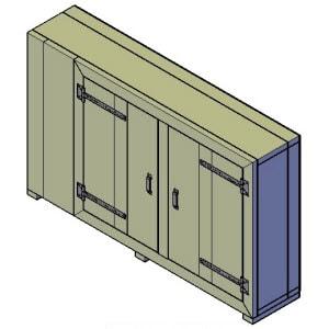 dressoir kast met dichtslaande deuren bouwtekening