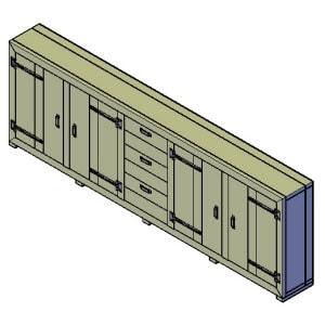 dressoir kast met dichte deuren bouwtekening