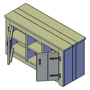 dressoir met 2 deuren bouwtekening