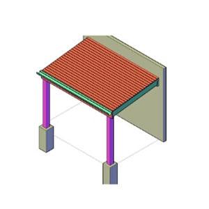 afdak / overkapping aan schuur bouwtekening