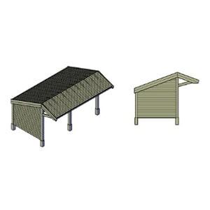 Kapschuur zijkant / achterkant gesloten bouwtekening