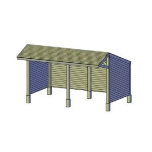 Kapschuur zijkanten achterkant gesloten bouwtekening