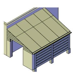 Overkapping aan schuur bouwtekening
