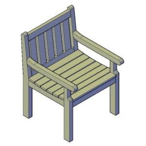 houten stoel bouwtekening