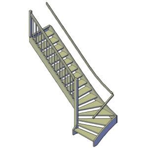 houten trap kwartslag bouwtekening