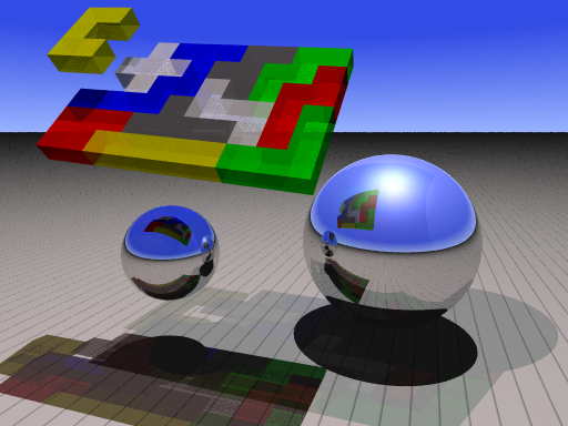Raytraced pentomino solution