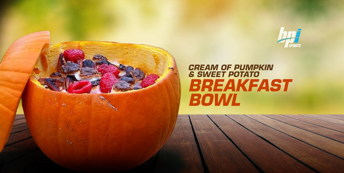 Cream of Pumpkin and Sweet Potato Breakfast Bowl